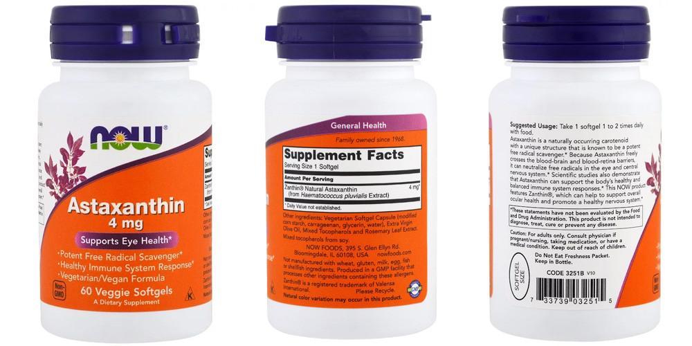 Астаксантин в капсулах отNow Foods