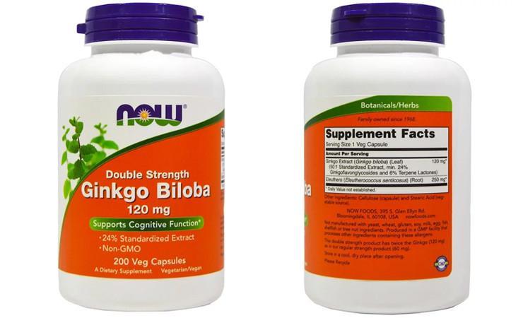 Гинкго билоба двойной концентрации Now Foods
