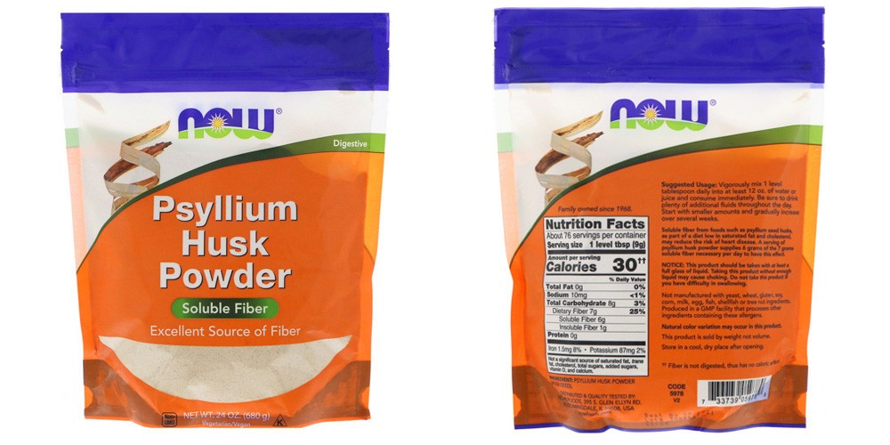 Порошок подорожника псиллиум от Now Foods