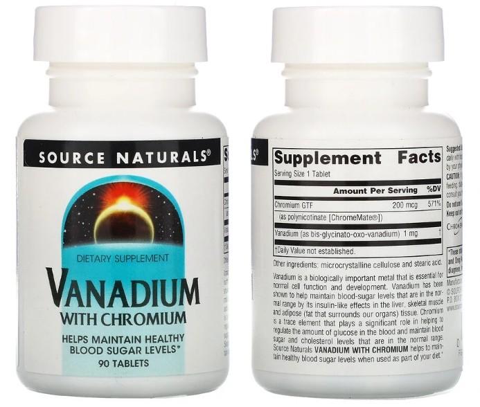 ванадий с хромом Source Naturals в таблетках