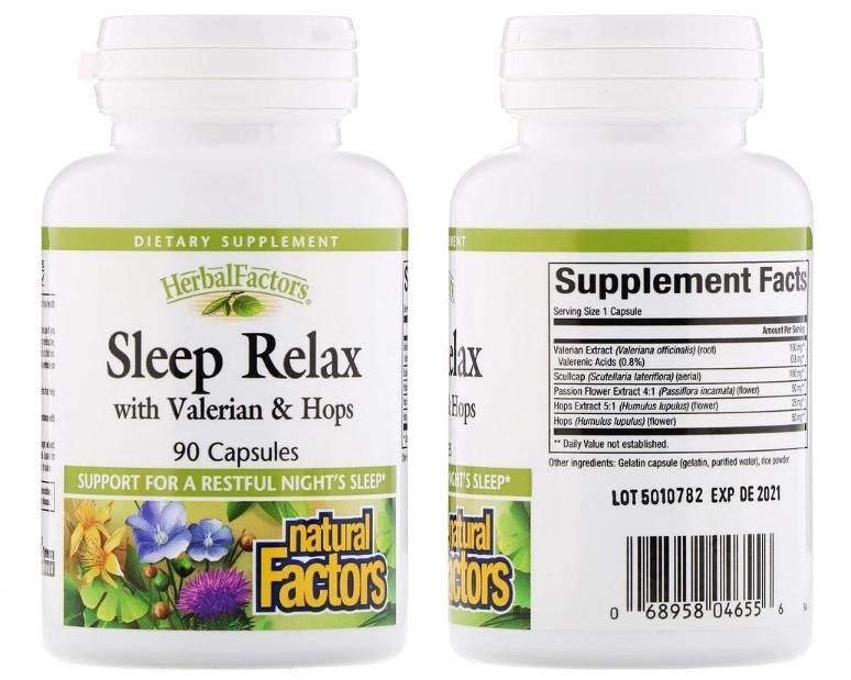 Sleep Relax с валерианой и хмелем от Natural Factors