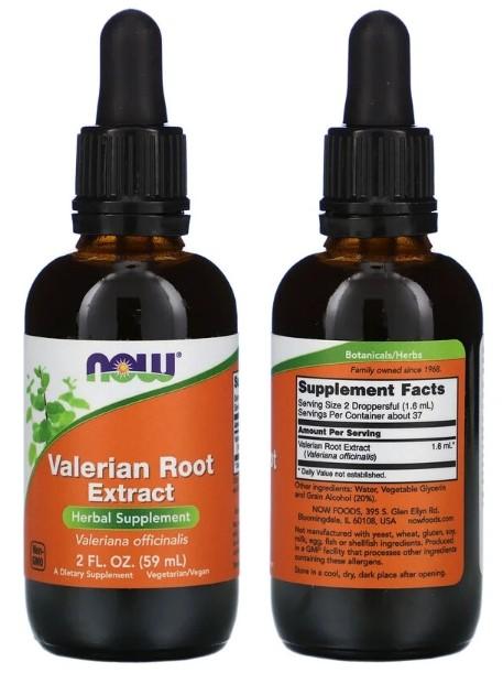 жидкий экстракт корня валерианы Now Foods