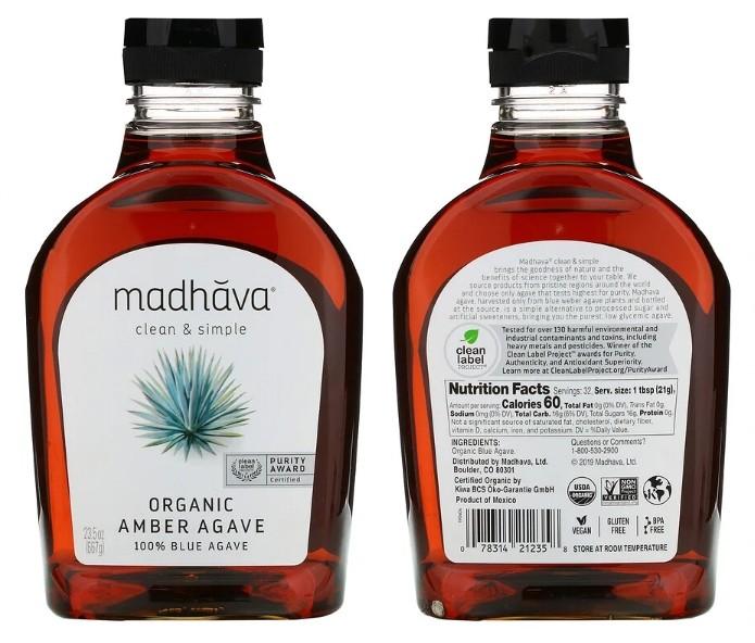 Темный необработанный нектар агавы Madhava Natural Sweeteners
