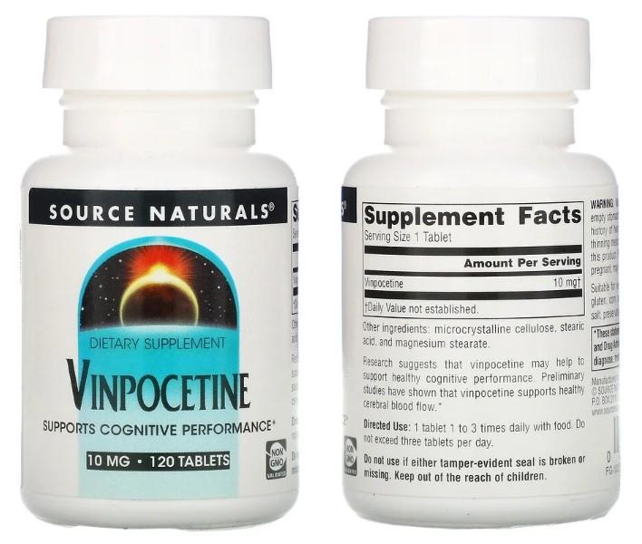 «Винпоцетин» 10 мг Source Naturals