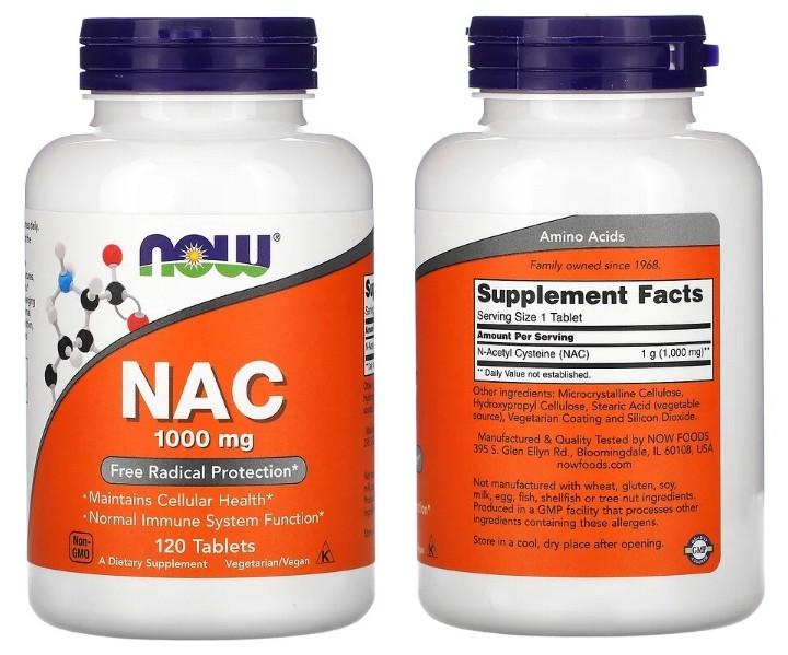 Высокоактивный N-ацетилцистеин 1000 мг от Now Foods
