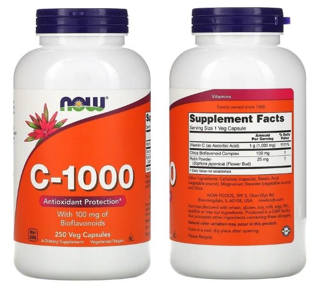 Комплекс C-1000 в капсулах от бренда Now Foods