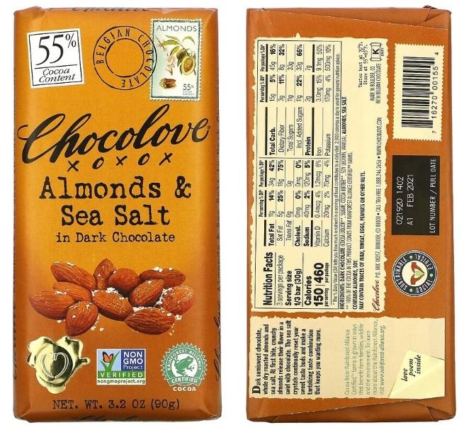 шоколад Chocolove с миндалем и морской солью