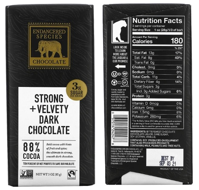 Горький экстрачерный шоколад Endangered Species Chocolate