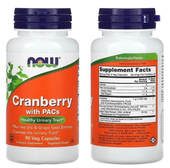 Клюква с проантоцианидинами Now Foods