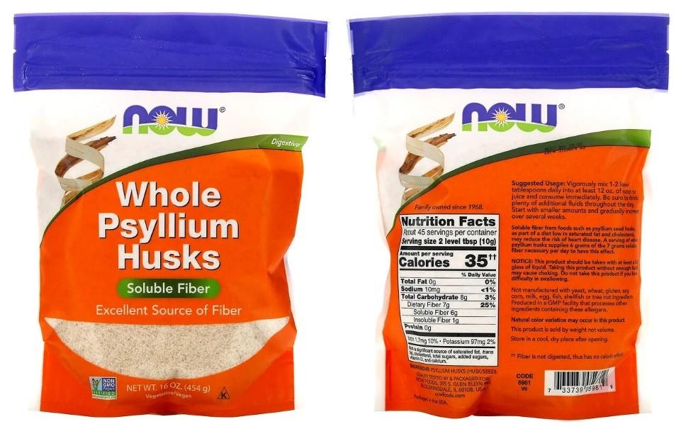 Цельная оболочка семян подорожника Now Foods